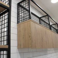 Steel frame and cages for stylish modern storage units